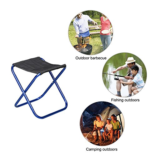 Tabouret pliable extérieur en aluminium ultra léger en alliage Pêche Assise Chaise de camping BBQ Tabouret pour randonnée Pêche Voyage randonnée, bleu, 27 x 25.5 x 23 cm/ 10.63*10.04*9.06 in