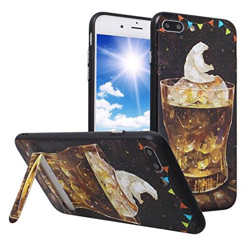 Coque iPhone 8 Plus Hybrid Case, iPhone 7 Plus Étui avec Supporter Kickstand, Moon mood® Coque en Silicone TPU Bumper et Plastique PC Rigide Arrière Étui pour Apple iPhone 8 Plus Housse de Protection  Style 9