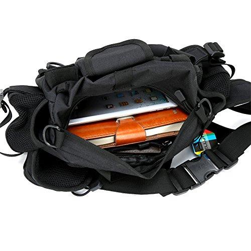 Pellor Unisex Brusttasche Taktische Nylontaschen Taille Pack Wasserdicht Wandern Bergsteigen Reiten Taschen Schwarz