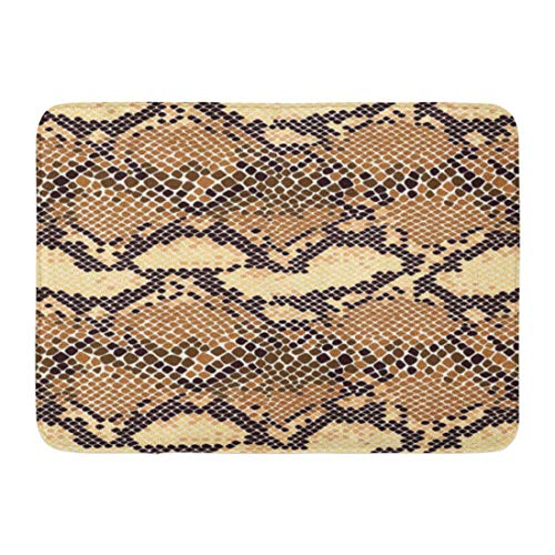 TEPEED Bath Mat Tan Cobra Beige Leather Snake Skin Pattern Reptile Animal Brown Snakeskin Exotic Bathroom Decor Rug 15.7