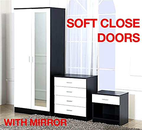 Gladini High Gloss Mirrored 3 Piece Bedroom Furniture Set - Includes Wardrobe, 4 Drawer Chest, Bedside Cabinet (White/Black)