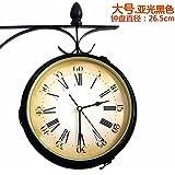 Doble cara mute reloj de pared reloj campanario de hierro forjado vintage reloj doble cara reloj grande de pared en el salón dos tablas,16 pulgadas,gran negro mate
