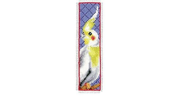 Mehrfarbig Vervaco Nymphensittich Z/ählmusterpackung-Lesezeichen-Stickpackung im gez/ählten Kreuzstich 6 x 20 x 0.3 cm Baumwolle