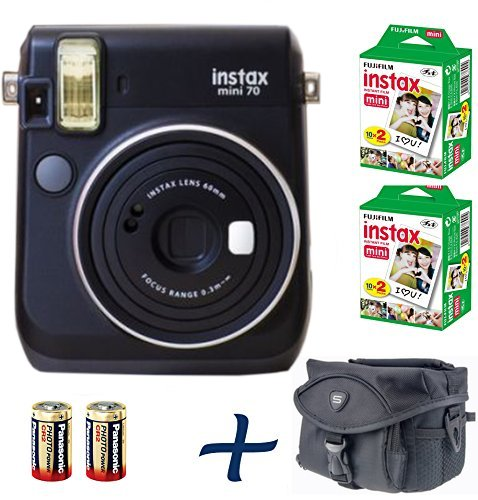 Best Fujifilm Instax Mini 70 Instant Camera Bundle Black + 100-shot Film + 2 Spare CR2 Battery + Case Bundle : all you need to start Instant photography