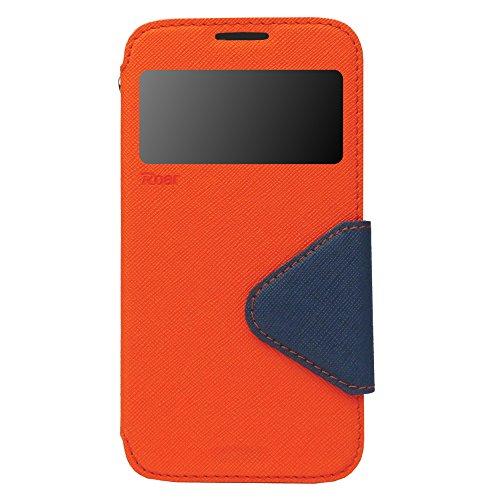 iPhone 6 Hülle Flip Case Tasche inkl. Silikon innen View Fenster Magnetverschluß Easy Touch Kartenfach Farbauswahl Blau Orange