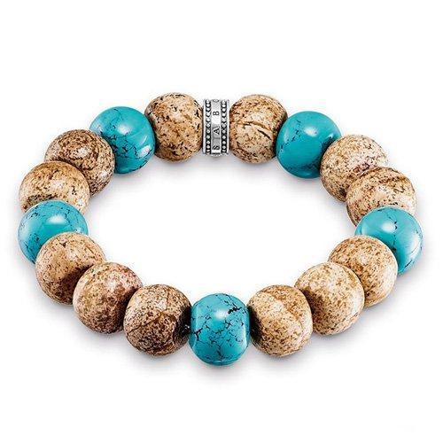 THOMAS SABO Damen-Armband Power Bracelet Afrika 925 Silber Türkis Jasper 15 cm - A1582-355-7-L15