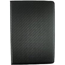 Emartbuy® Vodafone Tab Prime 7 4G 10.1 Pulgadas Tablet PC Universal Serie ( 10 - 11 Pulgadas ) Carbono Negro Ángulo Múltiples Executive Folio Carcasa Case Cover Con Tarjeta de Slots + Óptico Metálico