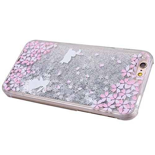 WE LOVE CASE iPhone 6 Plus / 6S Plus Coque, Étui Transparente de Protection en Premium Hard Plastique Dur Housse Liquide et Clair, Bumper Bling Cas Briller Couverture avec Paillette Ecoulement Flottan blanc