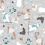 Studio E Weihnachtsstoff - Wintertiere grau STU109 - 0,5