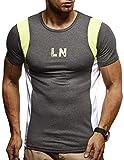 LEIF NELSON Gym Herren Fitness T-Shirt für Sport Fitness Freizeit Slim Fit | Männer Bodybuilder Trainingsshirt Kurzarm | Sportshirt Bekleidung für Bodybuilding Training | LN8001 Anthrazit-Gelb Small