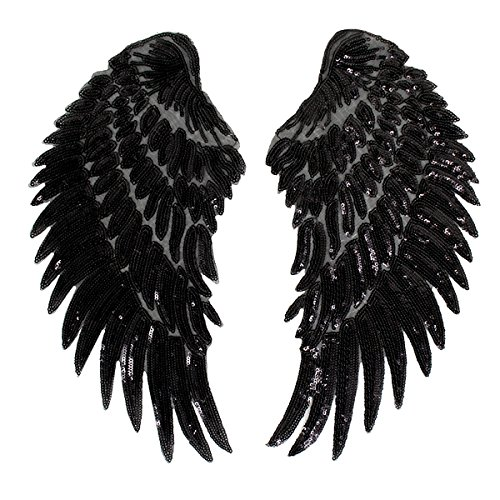 Gold Kostüm Flügel Engel - Milya Aufnäher Bügelbild Aufbügler Bügeleisen auf Patches Applikation Engel Flügel Muster 2er für T-Shirt Jeans Kleidung Taschen, Schwarz