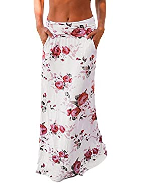 SKY La Sra impresión, faldas ocasionales flojos Summer Beach Floral Prints Skirt Low Waist Long Skirt