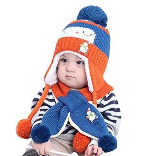Blau Stricken Hut-set (Baby Mütze Clode® Baby Jungen Mädchen Winter Beanie Warm Hut Kinder Stricken Ball Hüte Schal Sets (Blau))