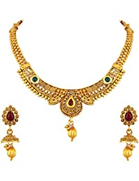 Asmitta Shimmering Jalebi Design Gold Plated Choker Style LCT Stone Necklace Set For Women