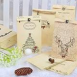 Kesote 12 Sac de Noël 12 Papier kraft Pochette Noël 12 Autocollants de Style de Noël + 2 Pendentifs + 1 Corde de Chanvre, Sac Noël pour Cadeau, 22 x 12 x 6cm