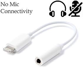Finaux Lightning to 3.5 mm Headphone Jack Adapter, AUX Female Audio Jack Earphone Extender for iPhone 7/7Plus, iPhone 8/8Plus & iPhone X (White)