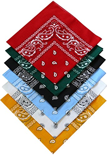 Harrys-Collection Bandana Bindetuch 100% Baumwolle 1 er 6 er oder 12 er Pack!, Farbe:Sortiment 1 (Bandana)