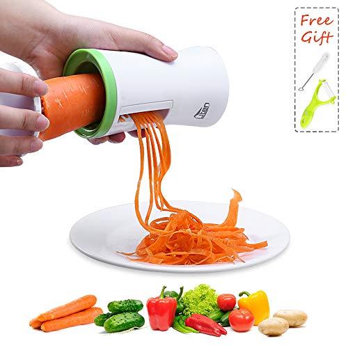AGM Spiralizzatore di Verdure, Affettatore a Spirale Vegetale Tagliaverdure Pelapatate Zucchine Pasta Tagliatella Spaghetti, Pennello Vegetable Spiralizer Spiral (Verde)