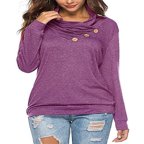 CHENXING Damen Strickjacke Pullover Frauen T -Shirt für Herbst und Winter Women's Wear New Button FoldT-Shirt nähen Mode Lose Einfarbig Stich Lose Langarm Top X1LilaS -