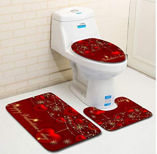 guduxiaodian Toilettenmatten-Set Badset Romantik Valentine Wc Teppich Set Rutschfeste Bad Fußmatten...