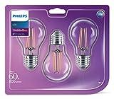 Philips LED Classic E27Edison Schraube, klar filament Glühlampe, 6W (60W), warmweiß, 3Stück