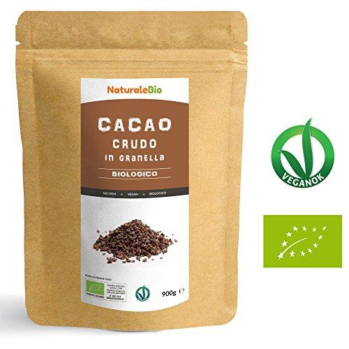 Granella di Cacao Crudo Biologico da 900g | 100% Bio, Naturale e Puro | Prodotto in Perù dalla Pianta Theobroma Cacao | Superfood Ricco di Antiossidanti, Minerali e Vitamine. NaturaleBio