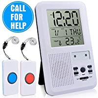 CAPMESSO Wireless Alarm Emergency System Kit Care Pager Alert Call Button Monitors 500+ Feet Operating Range for Patient Nurse Elderly