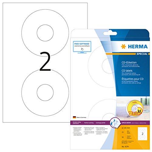 Herma 4374 CD DVD Etiketten transparent (Ø 116 mm, Innenloch groß) 50 Aufkleber, 25 Blatt DIN A4 Folie glänzend, Zentrierhilfe, bedruckbar, selbstklebend (Dvd-drucker-etiketten)