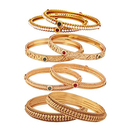 Jewels Galaxy Limited Edition Exclusive Red-Green Ruby, Pearl & Plane Gold Plated Bangles Combo For Women/Girls - Pair Of 4
