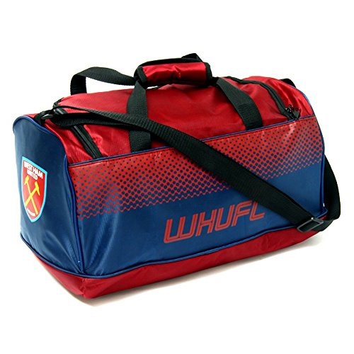 West Ham United FC Official Sporttasche (25cm x 22cm x42cm) (Rotbraun/Navy)