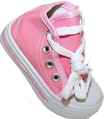 Kinder Unisex Baby Jungs Mädchen Betrag Leinwand, Stone, cedric mit Schnürung Pink
