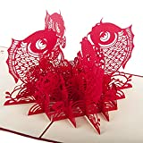 artbro Exquisite chinesischen Stil 3D Papier Schneiden Grußkarte Hochzeit Festival Weihnachten Thanksgiving GEDENKMÜNZE Einladung Schreibtisch Papier Decor Spielzeug Carp