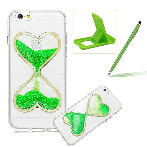 Custodia Bumper per iPhone 7 Plus 5.5 Case cover,Herzzer mode Liquido trasparente design Coquille 3D protezione Dual Layer Shell Liquid,amore cuore love Giallo Clessidra Unico Molto sottile Modeling Verde