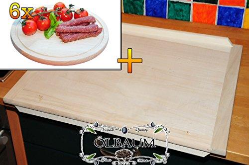Schneidebrett - massive, hochwertige ca. 16 mm starke Hack-und Backbretter natur, Maße viereckig je ca. 49 cm x 69 cm & 6 Stk. Hochwertiges, dickes ca. 16 mm Buche - SPÜLMASCHINENFEST '*' -Grill-Holzbrett mit Rillung natur, Maße rund ca. 25 cm Durchmesser als Bruschetta-Servierbrett, Brotzeitbretter, Steakteller schinkenbrett rustikal, Schinkenteller von BTV, Brotzeitteller Bayern, Wildbrett, Wildbret,