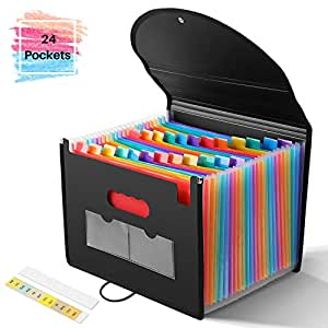 YISSVIC 24 Pockets ExpandingFilesFolder with Cover Accordian FolderOrganizer Plastic Rainbow Expandable File Folder Fit A4 Paper Letter