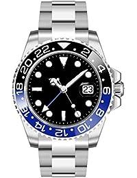 PARNIS PARNIS 2034 BLACK & BLUE 0732066354437 - Reloj para hombres, correa de acero inoxidable