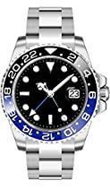 PARNIS 2034 BLACK & BLUE GMT Automatik Herrenuhr