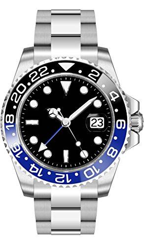 PARNIS 2034 GMT Black & Blue Herren-Automatikuhr Edelstahl-Gehäuse Edelstahlarmband Faltschließe Saphirglas Drehlünette Keramikeinlage 5 Bar wasserdicht