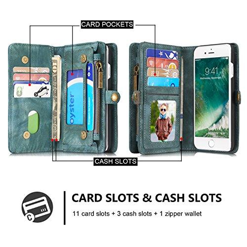 iPhone 7 Plus/iPhone 8 Plus caso Retro vera pelle Genuino Portafogli / multifunzione Coperture del telefono cerniera Portafoglio , vano con chiusura lampo, Slot per scheda / Foto Slot adatto per iPhon Verde