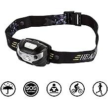 Duomishu Stirnlampe Wasserdicht USB Wiederaufladbare LED Kopflampe mit Handbewegung IR-Sensor Super Helle 3 Modi mit Sensor perfekt für Radsport Camping Wanderung Abenteur Jagd und die anderen Betätigungen im Freien, inklusive ein USB Kabel
