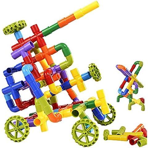 Eizur 68 Pezzi Tubo Interlocking Set Conduttura Assemblaggio Costruzione Blocchi Puzzle Giocattoli Intelligenza Educativi 100 Pezzi per Bambini Ragazze Ragazzi