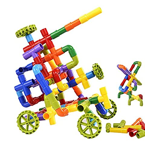 Eizur 88 Pièces Enfant Tube Jouet de Construction Multicolore Pipeline Intelligence Jeu Educatif Créatif Bloc en Plastique Cadeau Tuyauterie Puzzle pour Bébé Fille Garçon