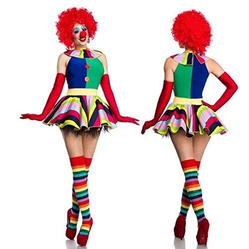 Bunte 80's Kostüm - Atixo Clown Girl Komplettset - bunt, Größe Atixo:L