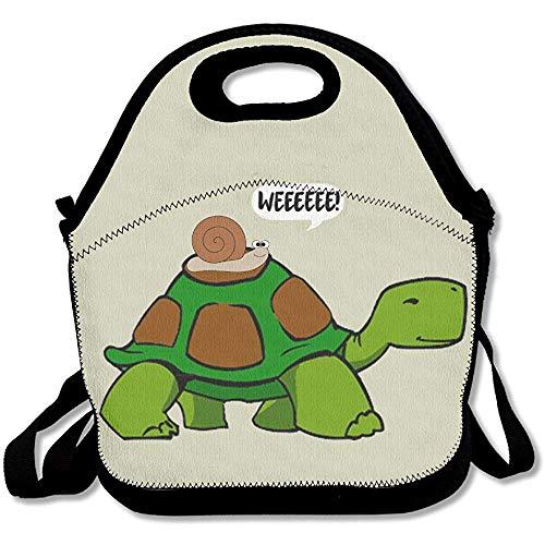 Resistente All'Acqua Termico,Funny Snail Slow Turtle Ride Weeee! \U0026 Iuml; \U0026 Frac12; \U0026 Rsaquo; Borsa Da Pranzo Per Donna, Uomo, Bambino, Ragazza, Ragazzo, Borsa Da Pranzo Con Tracoll