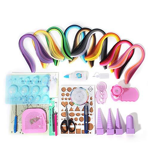 Papierquilling-Set, verschiedene Farben, mit 18 Werkzeugen, 900 Streifen, Papier -