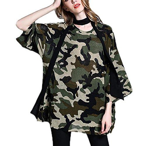 M&C Di grandi dimensioni camicia filato camuffamento chiffon della donna maniche 3/4 sciarpa collocazione T-shirt , camouflage , 3xl