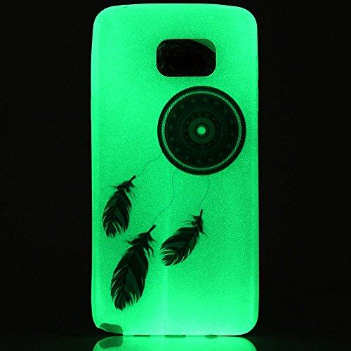Custodia Galaxy S6 - Cover per Samsung Galaxy S6 - ISAKEN Fashion Agganciabile Luminosa Custodia con LED Lampeggiante PU Pelle Portafoglio Tinta Unita Cover Caso per Samsung S6, Luxury Protettivo Skin acchiappasogni piuma blu