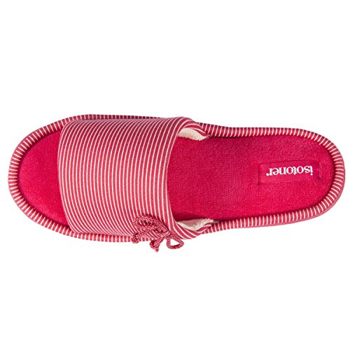Isotoner Chaussons sandales femme rayures Femme Rouge