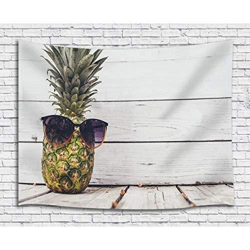 JAWO Fruit Wand aufhängen Dekoration Szenerie Niedliche Ananas mit Sonnenbrille, Streifen Boards Hintergrund, Wand Decke Wall Decor Art Home Decor
