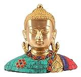 IndianArtVilla Brass Designer Stone Work Buddha - God Idol Sculpture Poojan Workship Temple Home Decorative Gift Item Showpiece